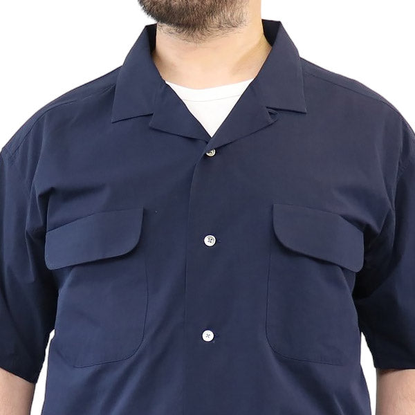 NIGEL CABOURN <br>ナイジェル・ケーボン <BR>OPEN COLLARED SHIRT <br>SHORT SLEEVE <br>HIGH DENSITY TWILL <br>2 COLORS <br>MAIN LINE <br>