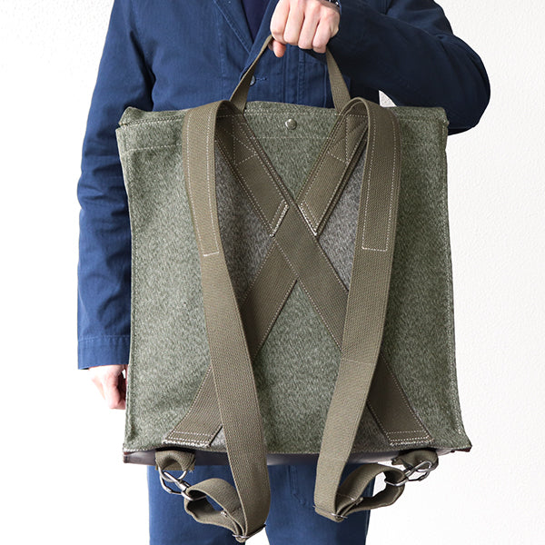 NIGEL CABOURN 1940s MOUNTAIN ARMY RUCK SACK SWISS ARMY FABRIC x HORWEEN LEATHER DARK GREEN MAIN LINE
