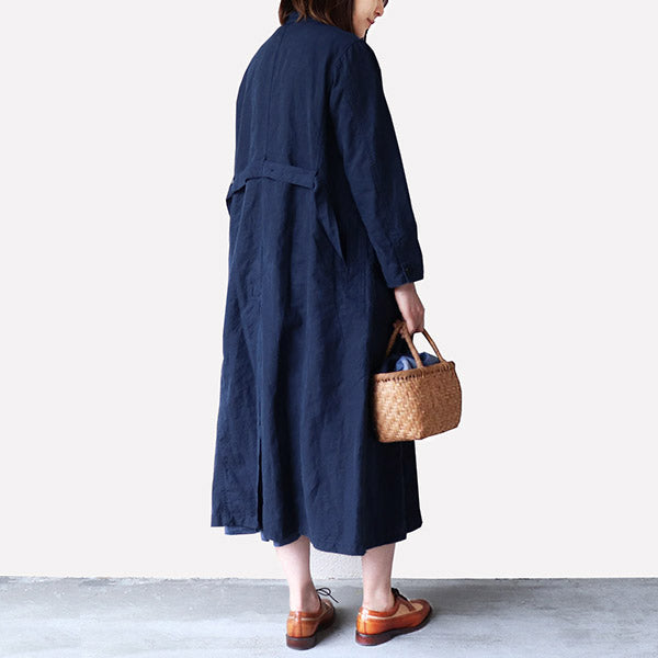 NIGEL CABOURN WOMAN <br>ナイジェル・ケーボン ウーマン <br>ATELIER COAT <BR>HIGH DENSITY LINEN <br>NAVY <br>MAIN LINE <br>