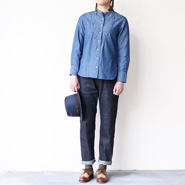 NIGEL CABOURN WOMAN <br>DRESS SHIRT COTTON LINEN DUNGAREE <br>3 COLORS <br>MAIN LINE <br>