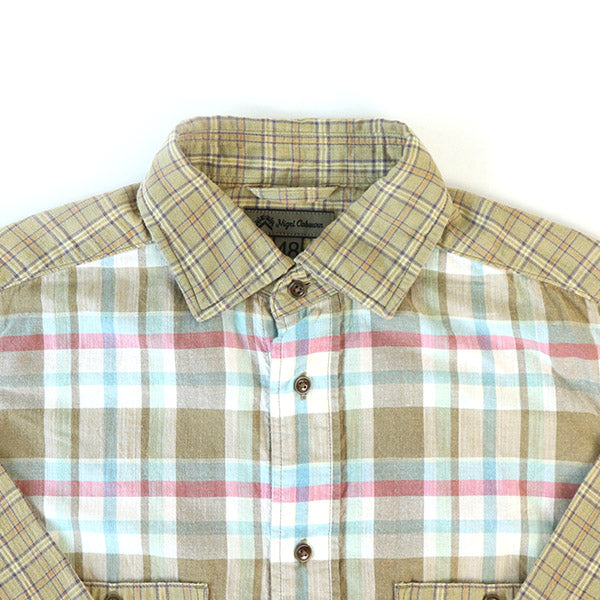 NIGEL CABOURN 1930s BRITISH ARMY SHIRT OZONE BLEACH CHECK 2 COLORS MAIN LINE