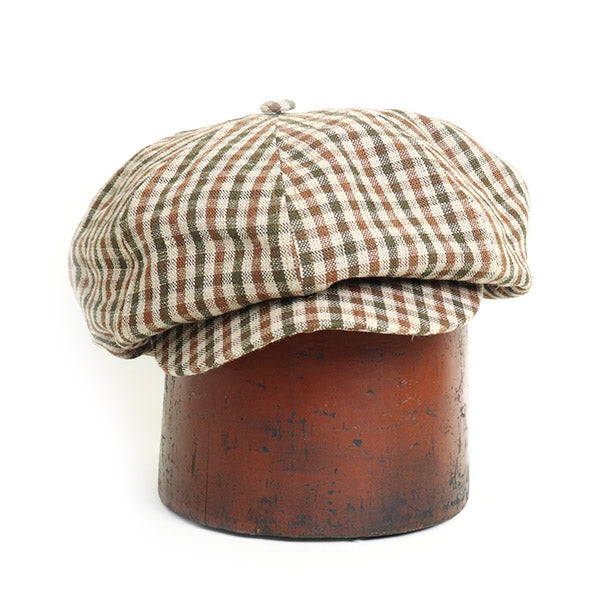 NIGEL CABOURN 8 PANELS CASQUETTE LINEN CHECK BROWN MAIN LINE
