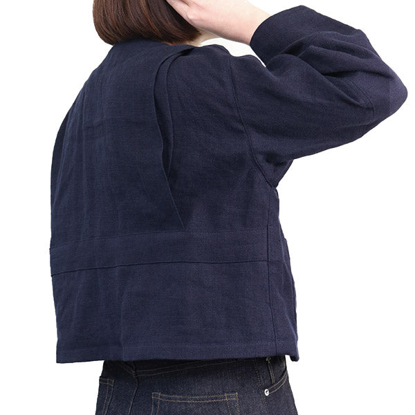 NIGEL CABOURN WOMAN HUNTING JACKET FRENCH LINEN NAVY MAIN LINE
