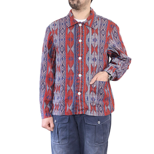 NIGEL CABOURN BUTTON THROUGH DECK SHIRT PRINTED LINEN RED AUTHENTIC LINE