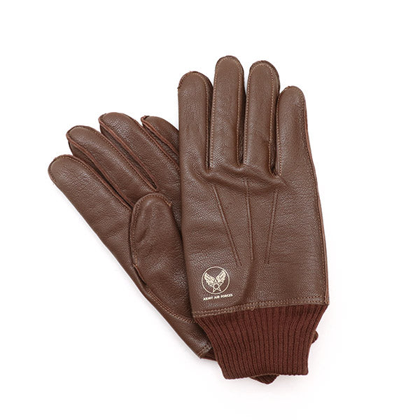 EASTMAN LEATHER CLOTHING TYPE-A-10 FLYING WINTER GLOVES GOATSKIN SEAL BROWN