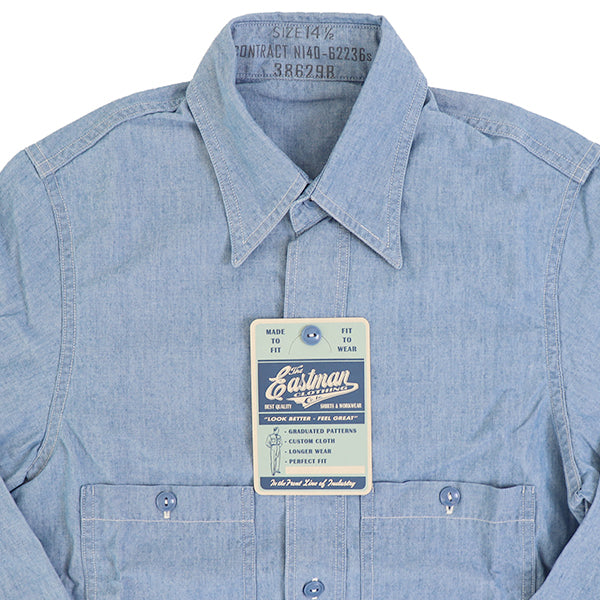EASTMAN LEATHER CLOTHINGEastman Leather Closing USN CHAMBRAY SHIRT BLUE MADE IN JAPAN