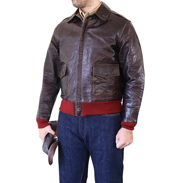 EASTMAN LEATHER CLOTHING <br>TYPE A-2 .50CAL <BR>HORSE HIDE <BR>SEAL BROWN <BR>MADE IN UK <BR>