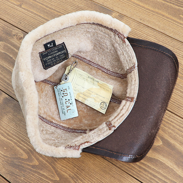 EASTMAN LEATHER CLOTHING TYPE B-2 FLYING WINTER CAP 50CAL SEAL BROWN MADE IN UK