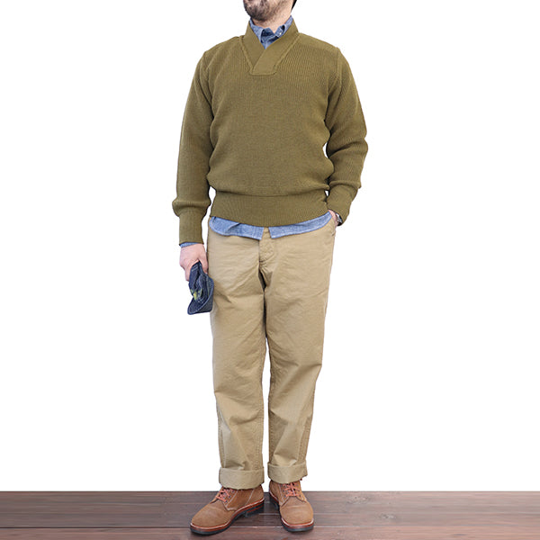 EASTMAN LEATHER CLOTHING MECHANICS TYPE A-1 SWEATER OLIVE DRAB MADE IN UK