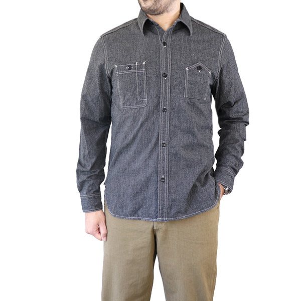 ELMCEastman Leather Motorcycle Club CHAMBRAY WORK SHIRT 1940s STYLE WORK SHIRT SELVEDGE CHAMBRAY