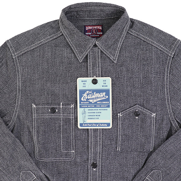 ELMC <br>イーストマン・レザー・モーターサイクル・クラブ <br>CHAMBRAY WORK SHIRT <BR>1940s STYLE WORK SHIRT <BR>SELVEDGE CHAMBRAY