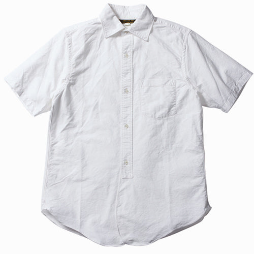 FREEWHEELERS MAILER SHORT SLEEVE SHIRT LATE 1800s WIDE SPREAD COLLAR SHIRT WHITE HEAVY OXFORD