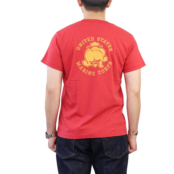 EASTMAN LEATHER CLOTHING T-SHIRT USMC 1960s SERGEANT MAJOR JIGGS BULLDOG PRINT RED MADE IN JAPAN