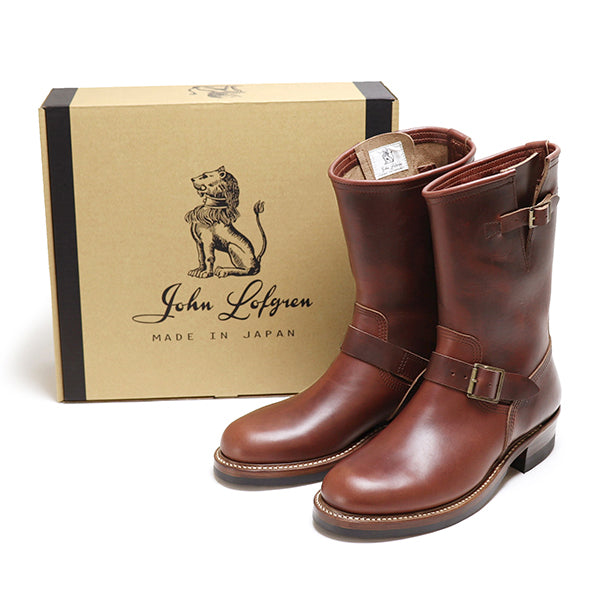 JOHN LOFGREN BOOTMAKER ENGINEER BOOTS HORWEEN LEATHER CXL BROWN MADE IN JAPAN