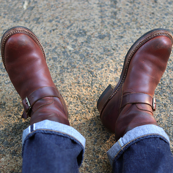 JOHN LOFGREN BOOTMAKER <BR>ENGINEER BOOTS <BR>HORWEEN LEATHER CXL <BR>BROWN <BR>MADE IN JAPAN