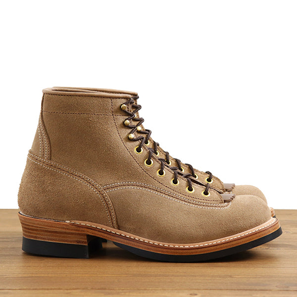 JOHN LOFGREN BOOTMAKER DONKEY PUNCHER LOGGER BOOTS HORWEEN LEATHER CXL NATURAL ROUGHOUT MADE IN JAPAN