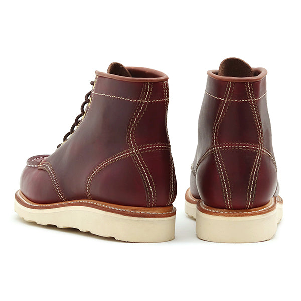 JOHN LOFGREN BOOTMAKER<BR>MOC TOE BOOTS <BR>HORWEEN LEATHER CXL <BR>BURGUNDY <BR>MADE IN JAPAN <BR>