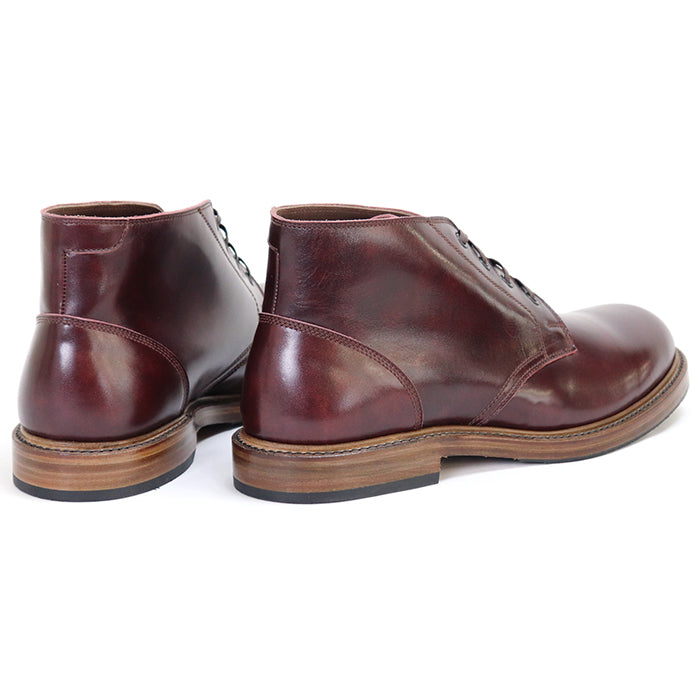 JOHN LOFGREN BOOTMAKER <BR>THE STEADFAST CHUKKA BOOTS <BR>BURGUNDY CALFSKIN <BR>MADE IN JAPAN <BR>