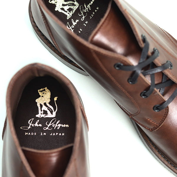 JOHN LOFGREN BOOTMAKER<BR>THE STEADFAST CHUKKA BOOTS <BR>BROWN CALFSKIN <BR>MADE IN JAPAN <BR>チャッカブーツ <BR>