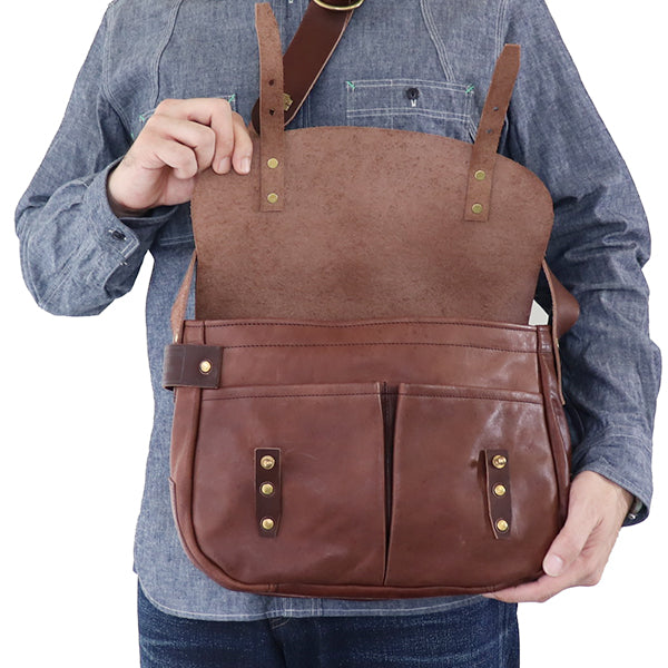 THE SUPERIOR LABOR <br>シュペリオール レイバー <BR>HORSE LEATHER HUNTING BAG <br>BROWN <BR>MADE IN JAPAN <BR>