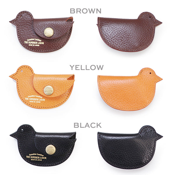 THE SUPERIOR LABOR BIRD COIN CASE ITALIAN OIL LEATHER MADE IN JAPAN