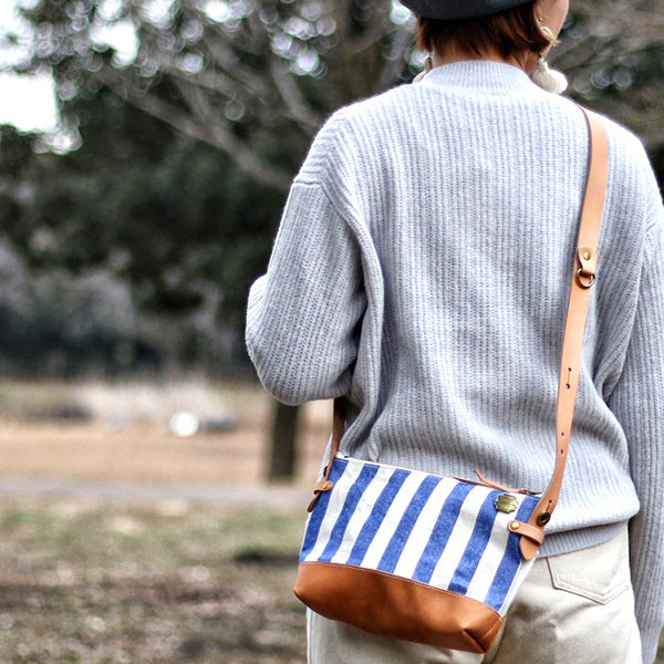 THE SUPERIOR LABOR LEATHER BOTTOM SHOULDER BAG STRIPE CANVAS SMALL SIZE MADE IN JAPAN
