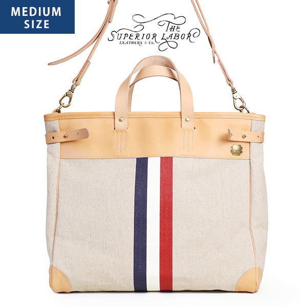 THE SUPERIOR LABOR TRAVEL BAG MEDIUM SIZE LEATHER x LINEN x COTTON MADE IN JAPAN