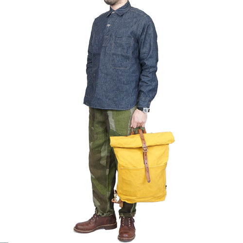 VASCO CANVAS x LEATHER ROLL TOP RUCK SACK MUSTARD PARAFFIN CANVAS
