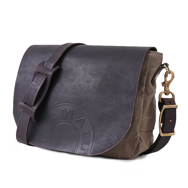 VASCO CANVAS x LEATHER MAIL BAG USMAIL LOGO MODEL SMALL SIZE GRAY MADE IN JAPAN