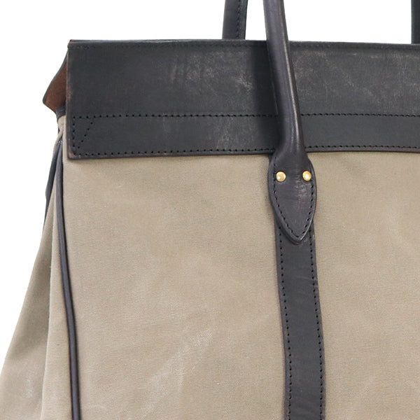 VASCO CANVAS x LEATHER SADDLE TOTE BAG PARAFFIN COATING GRAY MADE IN JAPAN