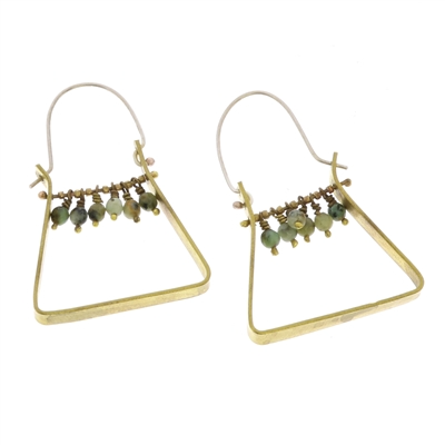 Triangle Brass Dangling Gem Earrings - African Turquoise