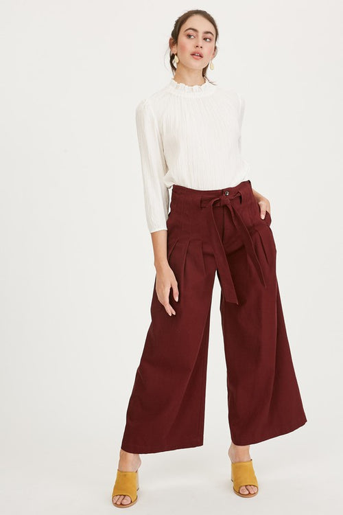 Paper Bag Waist Wide Leg Pants