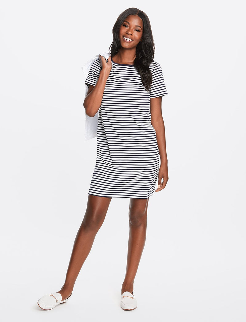 Sailor Stripe Ponte Shift Dress