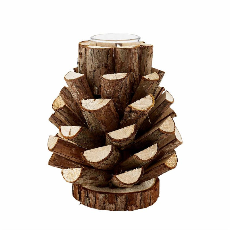 Dark Wood Pinecone Votive Holder