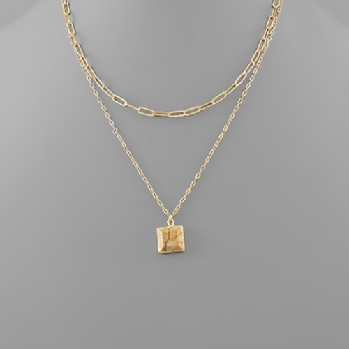 Square Stone Charm Layer Necklace