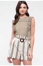 Olive Lace Trim Sleeveless Top