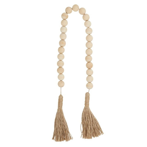 Natural Wood Beads with Jute Tassel