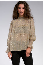 Smocked Neck Gold Print Top