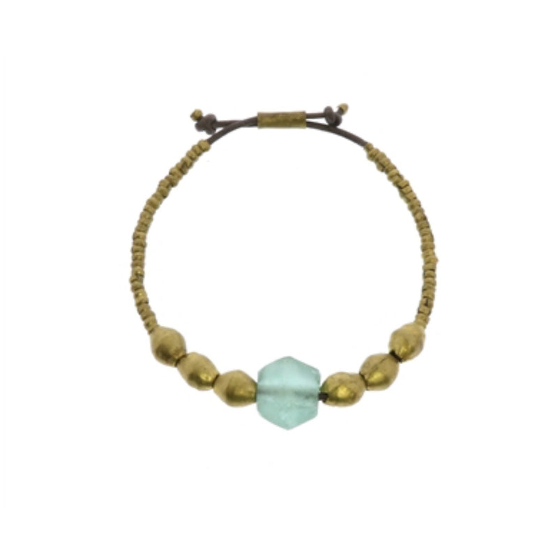 Seaglass Beaded Brass Bracelet