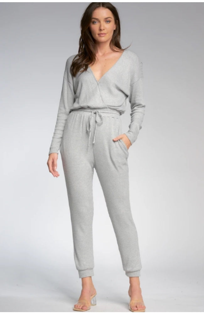 Grey Ribbed Jumpsuit