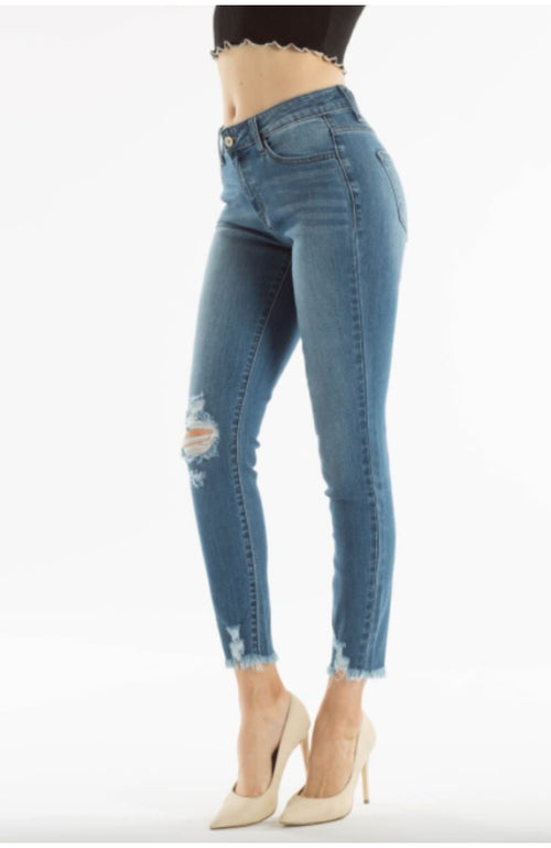 Mid Rise Ankle Distressed Jeans