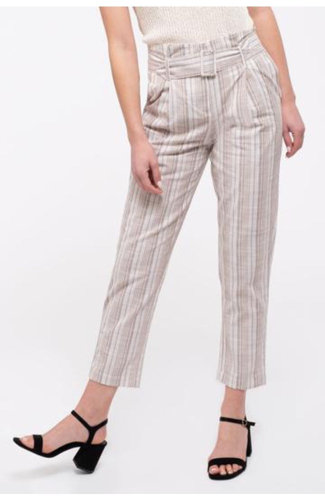Ivory Belted Stripe Pants