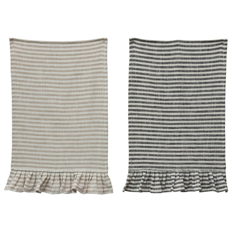 Striped Dishtowel with Ruffles