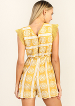 Yellow Embroidered Eyelit Lace Romper