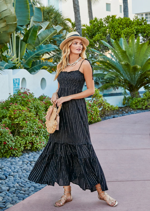 Black Striped Smocked Maxi