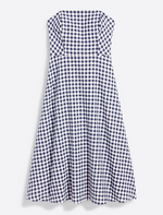Navy Gingham Strapless Midi Dress