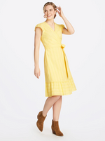 Yellow Eyelet Flutter Wrap Dress
