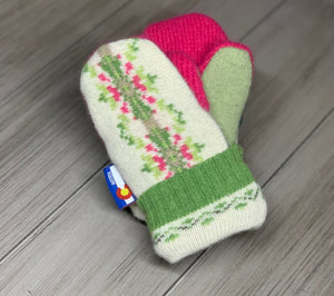 Toddler Mittens Pink/Green