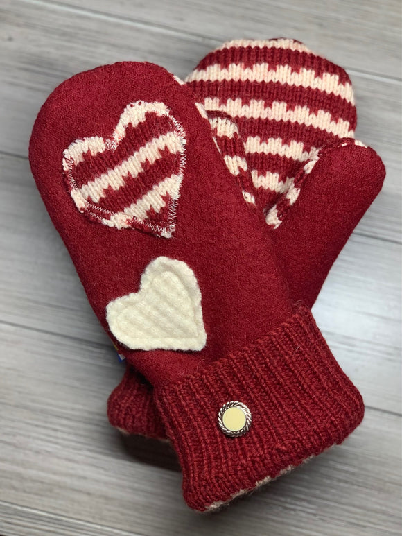 Women's Large Mittens Red with Hearts