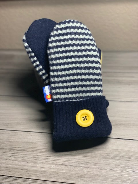 Women's Regular Mittens Navy Blue/Yellow